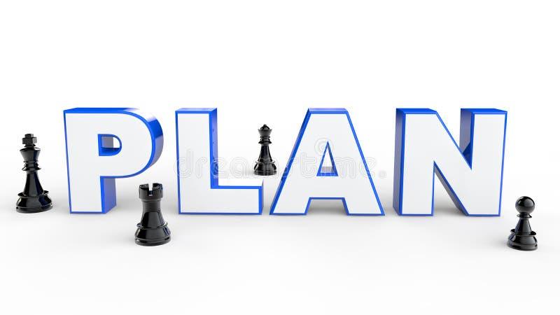 Plan 3d mit Schachfiguren stock abbildung