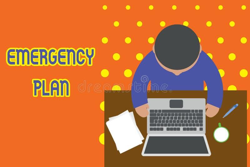 Plan d'urgence d'?criture des textes d'?criture Le concept signifiant des procédures pour la réponse aux urgences importantes soi illustration libre de droits
