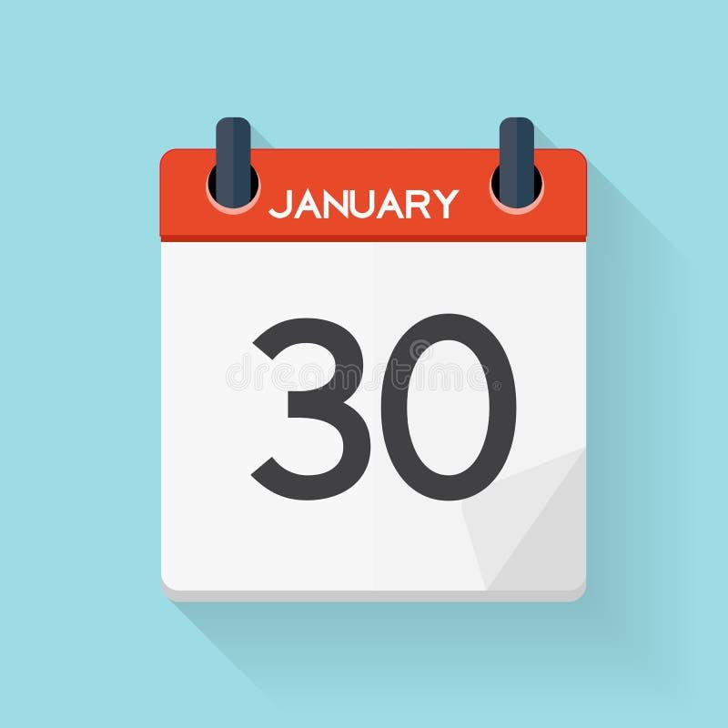 Plan daglig symbol för Januari 30 kalender Vektorillustrationemblem royaltyfri illustrationer