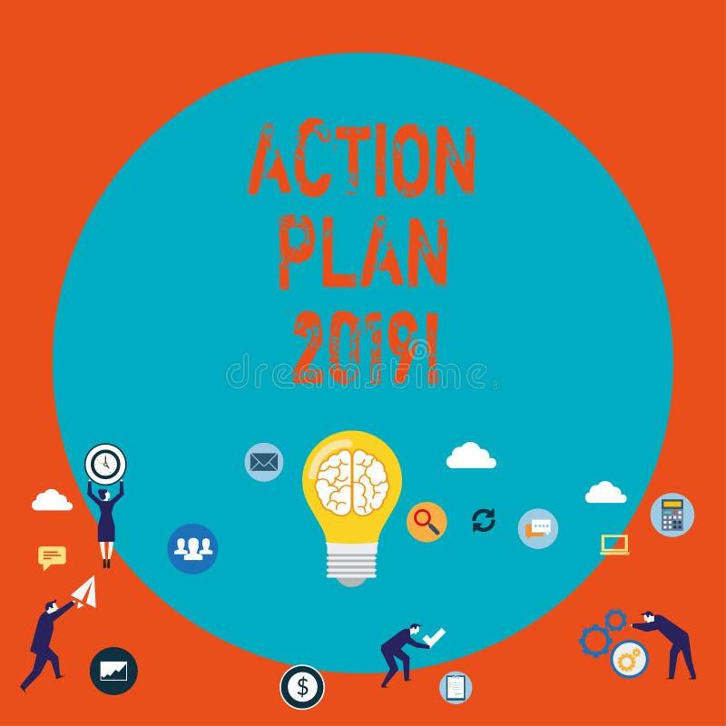 Plan de actuación 2019 del texto de la escritura de la palabra Concepto del negocio para las metas de las ideas del desafío para  ilustración del vector
