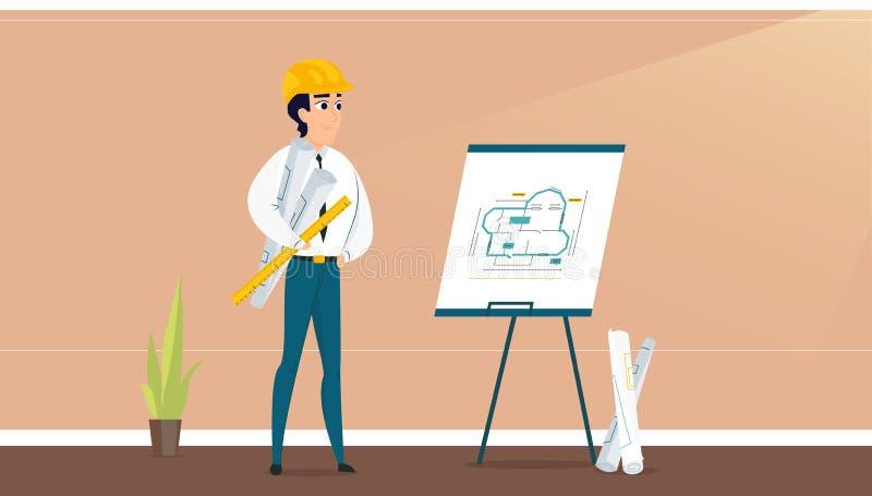 Plan de concepción de examen del sitio del arquitecto de sexo masculino ilustración del vector
