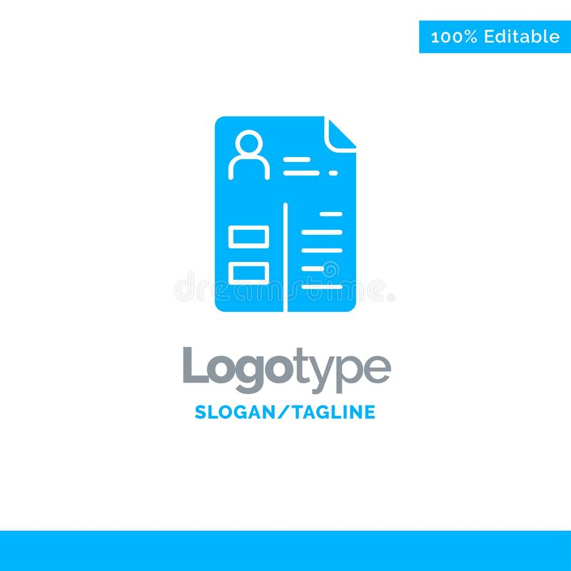 Plan de estudios, Cv, trabajo, cartera Logo Template sólido azul Lugar para el Tagline ilustración del vector