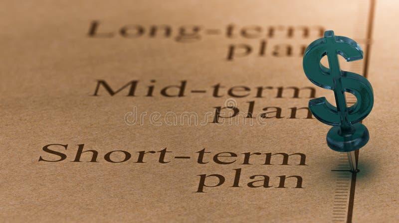 Plan de inversión a corto plazo stock de ilustración