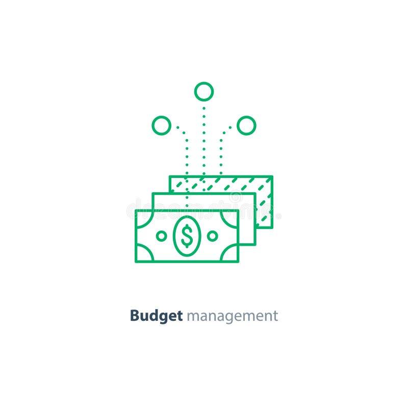 Plan de inversión, estructura financiera, dinero de ahorro, consolidación y diversificación stock de ilustración