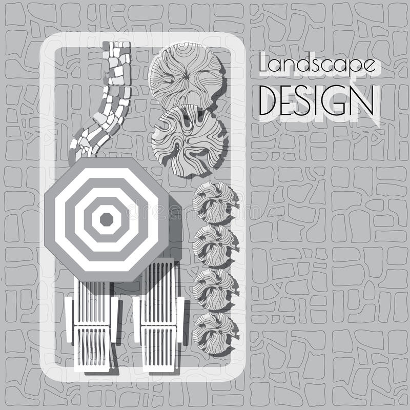 Plan de jardin avec des symboles de meubles, voie de pierres, usines illustration stock