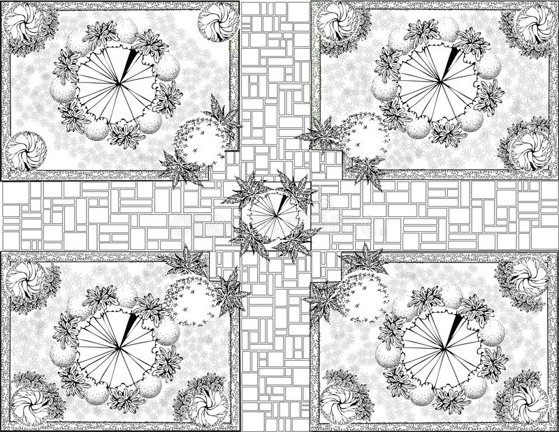 Plan de jardin noir et blanc illustration de vecteur for Jardin noir et blanc
