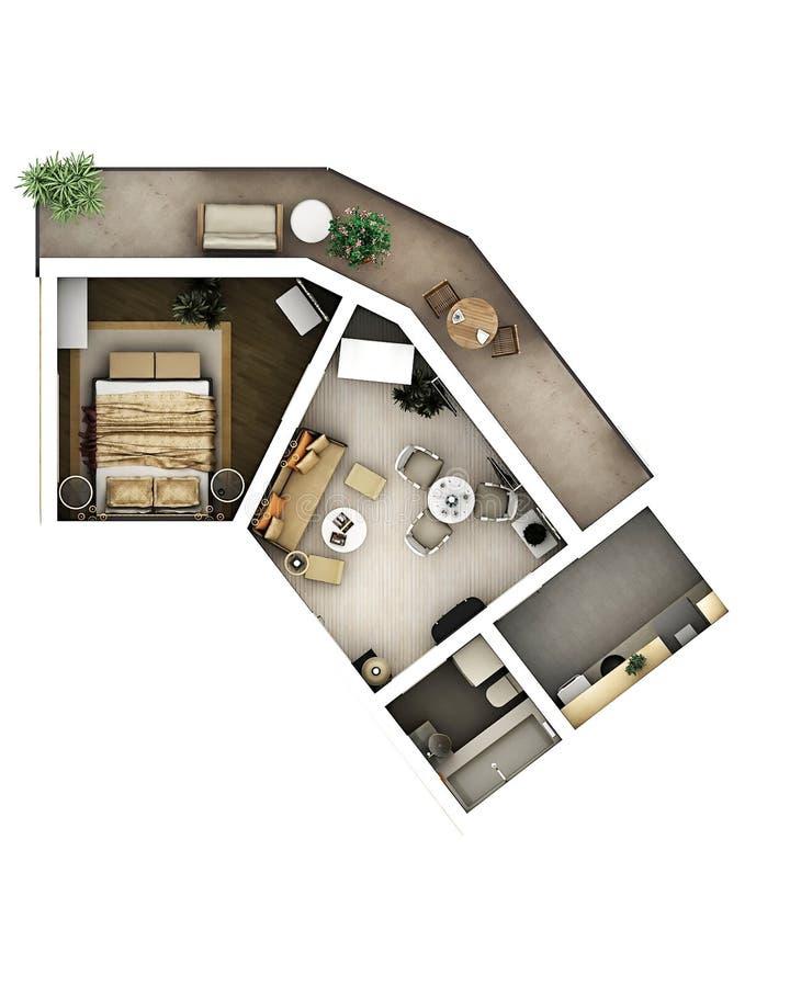 plan de l'étage 3d illustration libre de droits