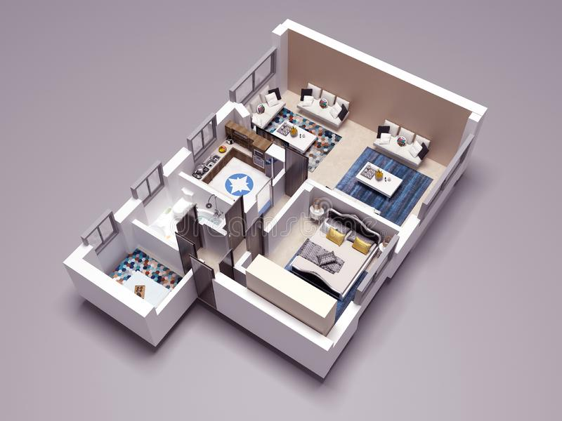 plan de l'?tage 3D illustration libre de droits