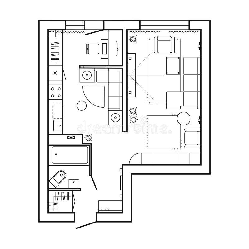Plan de la arquitectura con muebles Plan de piso de la casa Cocina, salón y cuarto de baño stock de ilustración