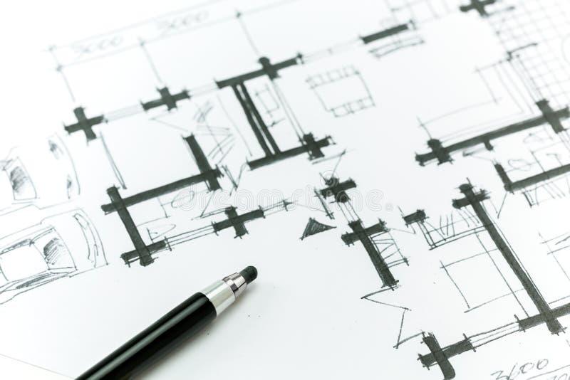 Plan de la casa del bosquejo imágenes de archivo libres de regalías