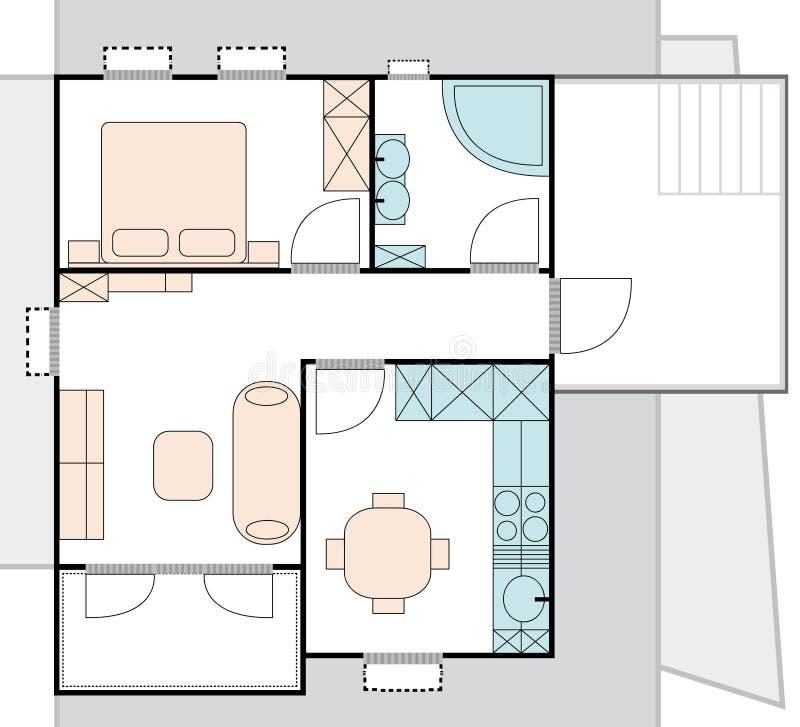 Plan de la configuración del apartamento ilustración del vector