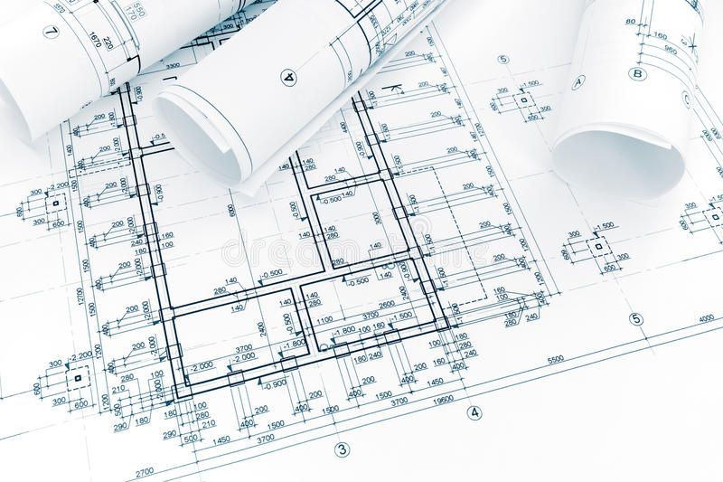 Plan de la construcción, rollos de los modelos de la ingeniería architectura imagen de archivo