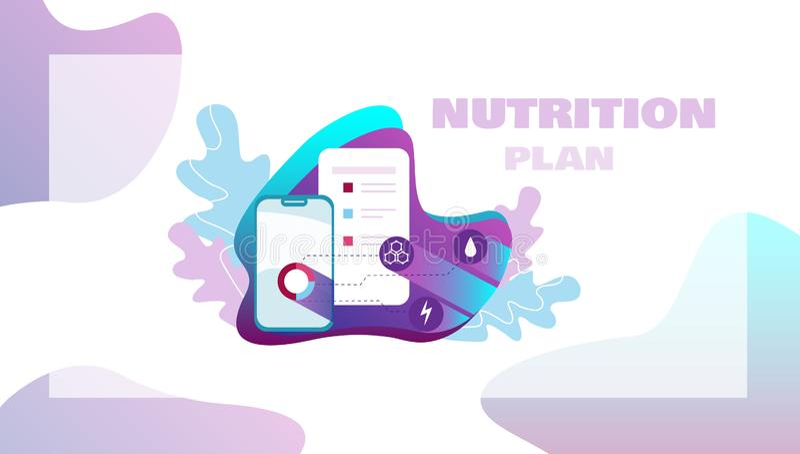 Plan de la nutrición con los iconos para la caloría, carbohidratos, grasas, proteínas Concepto sano de la consumición y de la tec libre illustration