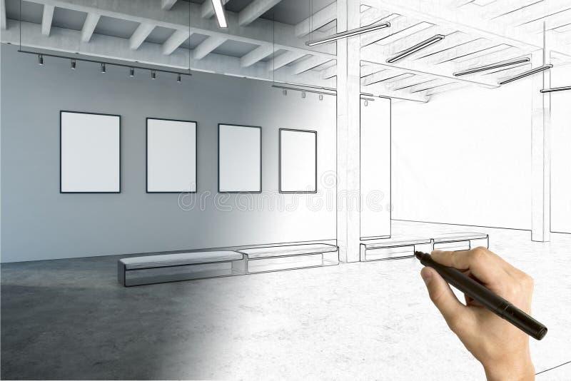 Plan de la sala de exposiciones con la cartelera vacía stock de ilustración