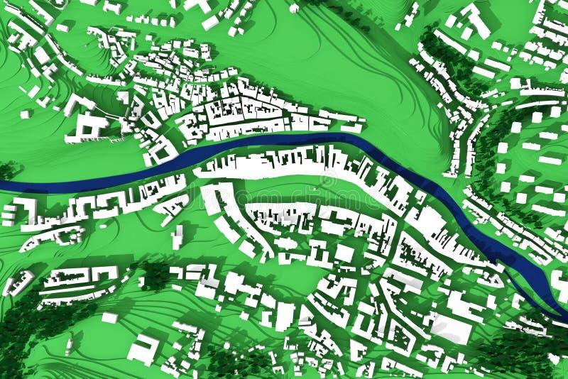 plan de la ville 3d de scène urbaine illustration stock