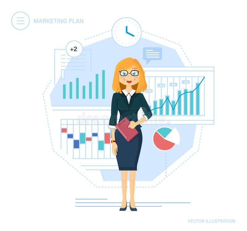 Plan de márketing Control, gestión de tiempo, planeamiento, finanzas del crecimiento, metas de los logros stock de ilustración