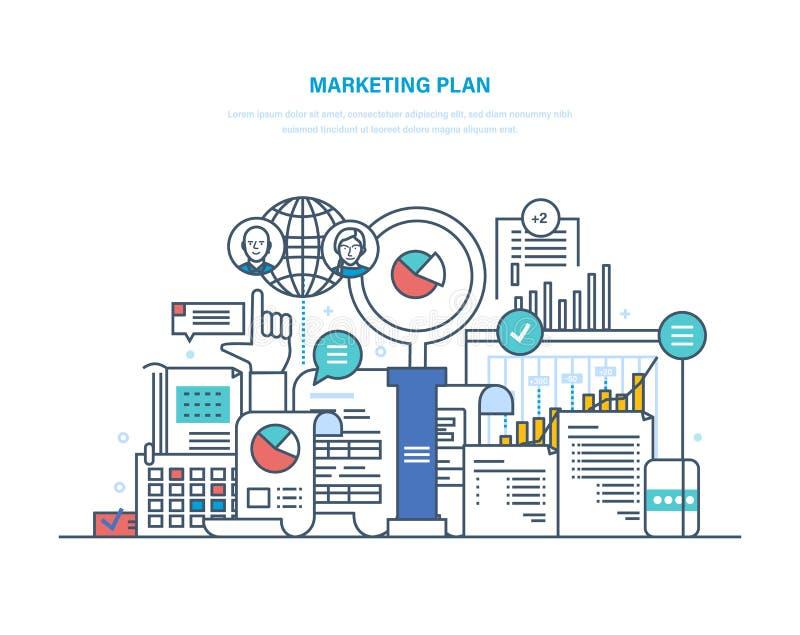 Plan de márketing Promoción, apuntando, estudio de mercados, estrategia de desarrollo, declaración de misión libre illustration