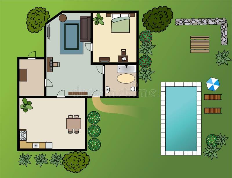 plan de maison de campagne avec des meubles illustration. Black Bedroom Furniture Sets. Home Design Ideas