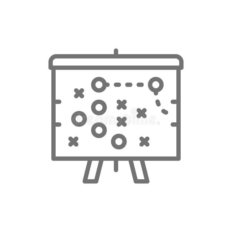 Plan de plan de partie de football, ligne icône de la tactique illustration libre de droits