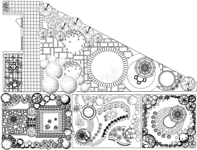 Plan de paysage des collections OD avec des symboles de cime d'arbre illustration de vecteur