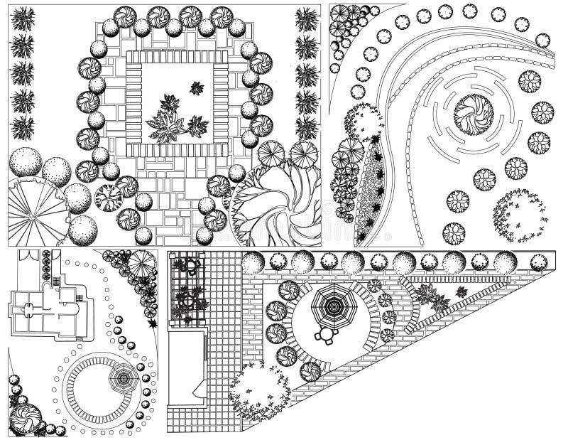 Plan de paysage des collections OD avec des symboles de cime d'arbre illustration stock