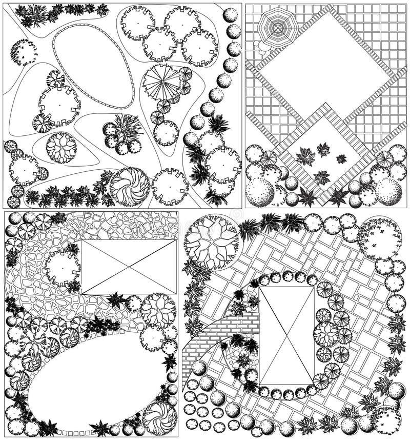 Plan de paysage des collections OD avec des symboles de cime d'arbre illustration libre de droits