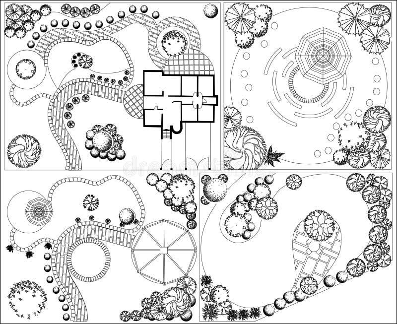 Plan de paysage des collections OD avec le symbole de cime d'arbre illustration libre de droits