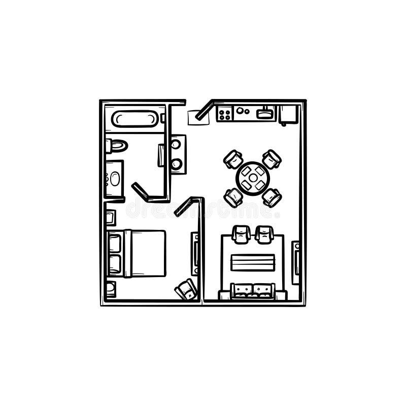 Plan de piso con el icono dibujado mano del garabato del esquema de los muebles ilustración del vector