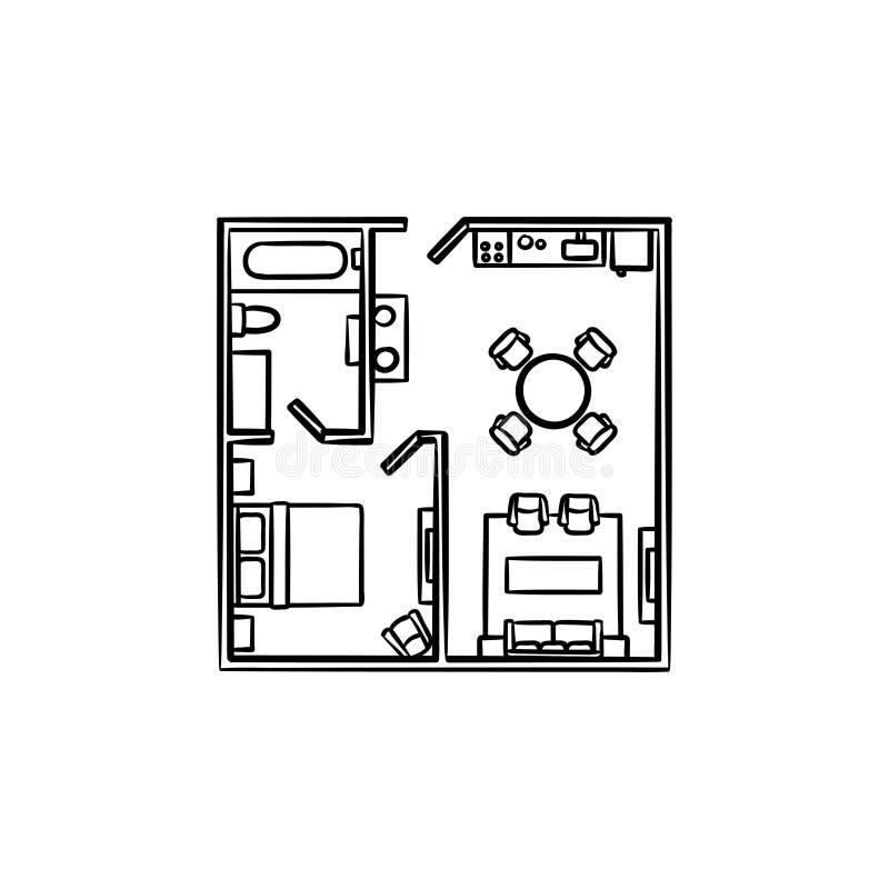 Plan de piso con el icono dibujado mano del garabato del esquema de los muebles stock de ilustración