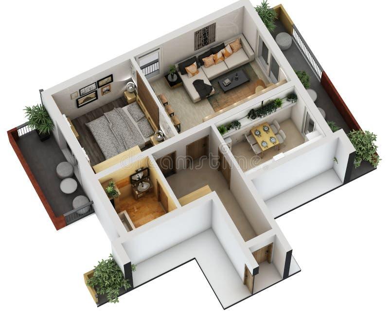 plan de piso 3d imagen de archivo libre de regalías