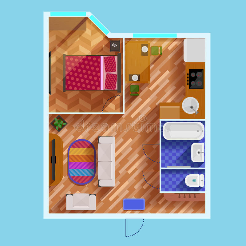 Plan de piso de un apartamento del dormitorio ilustración del vector