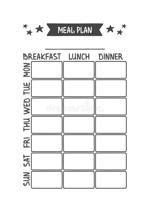 Plan de repas o illustration stock