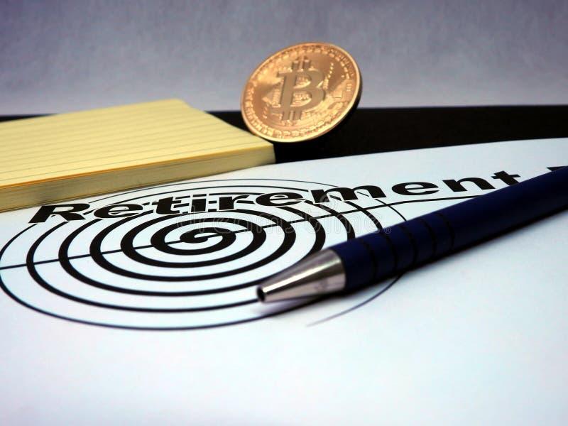 Plan de retiro de Bitcoin imagen de archivo