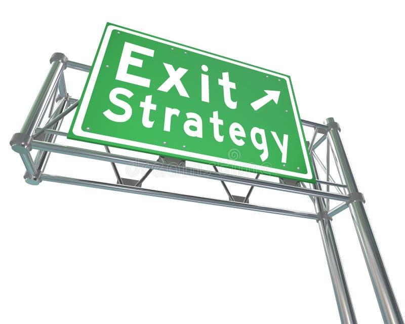 Plan de sortie de panneau routier d'autoroute de vert de direction de stratégie de sortie illustration de vecteur