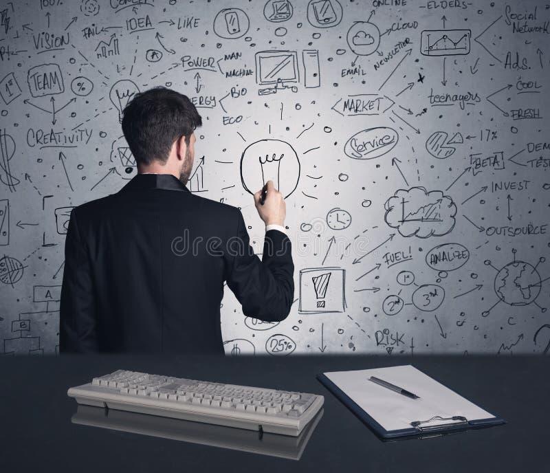 Plan de stratégie d'écriture d'homme d'affaires sur le mur photos stock