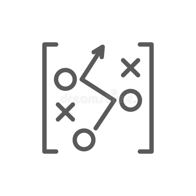 Plan de stratégie de jeu de football, ligne de dessin icône illustration stock