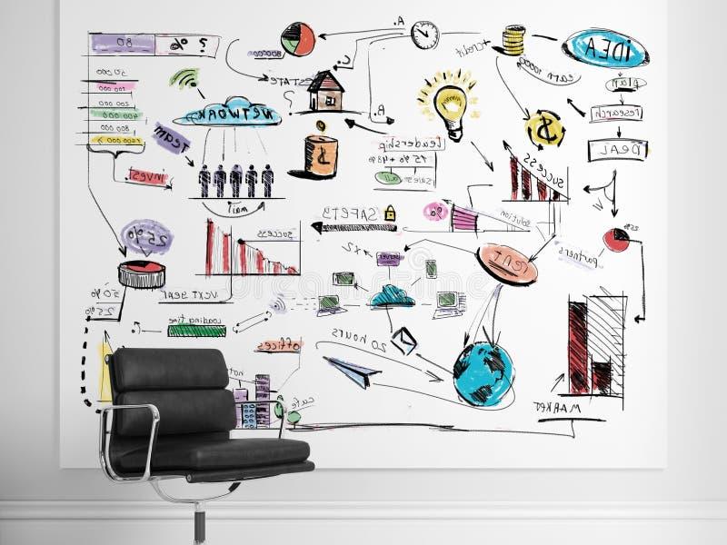 Plan de stratégie sur le mur blanc 3d rendent illustration de vecteur