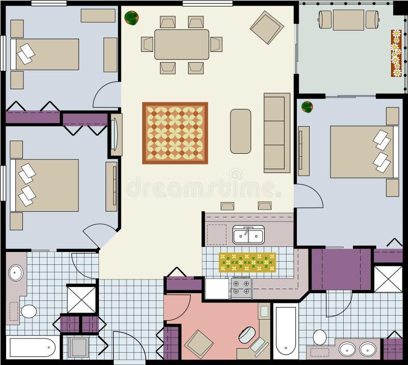 Plan de suelo de tres habitaciones stock de ilustración