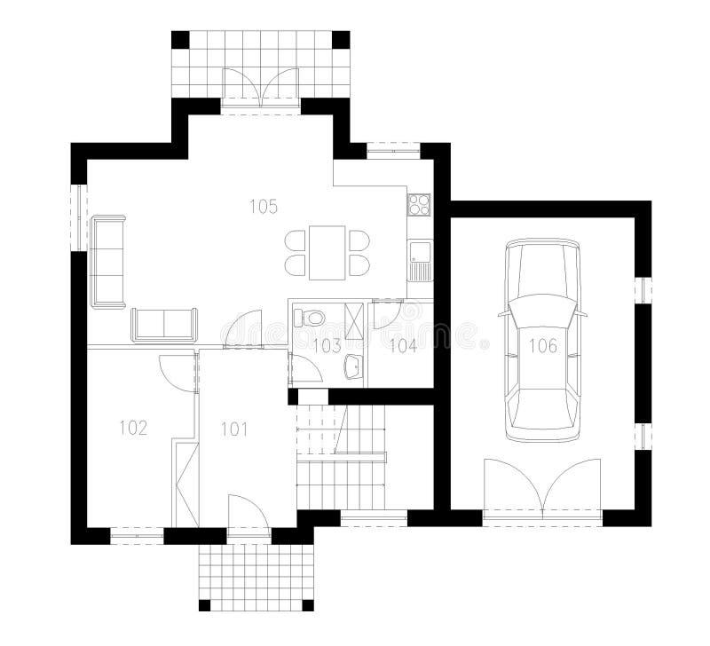 Plan de tierra del edificio plano ilustración del vector