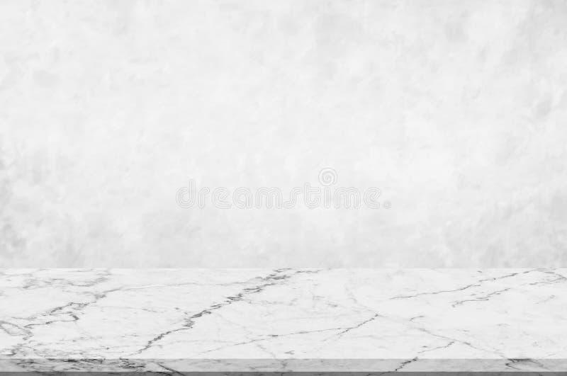 Plan de travail, marbre blanc de perspective avec la conception naturelle en pierre de marbre blanche ou gris-clair brouillée de  image libre de droits