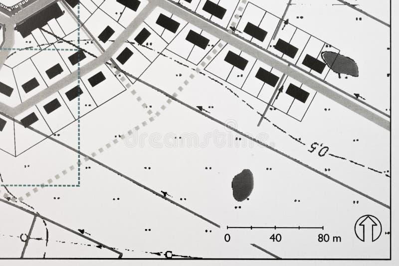 Plan de un pueblo costero tradicional del nuevo Urbanism stock de ilustración