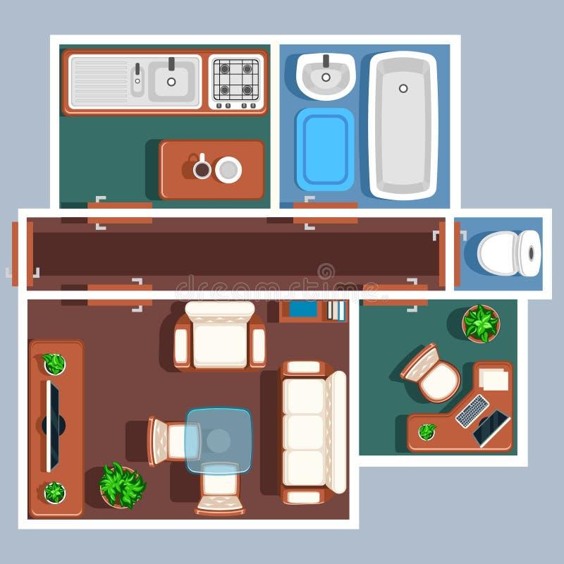 Plan de vecteur de plancher d'appartement avec des meubles illustration de vecteur