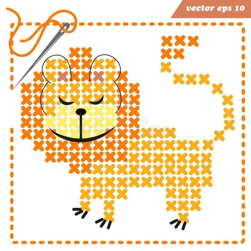 Plan de vecteur pour crosstiching avec le lion drôle illustration stock