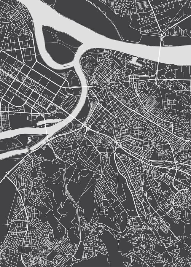Plan de ville de Belgrade, carte détaillée de vecteur illustration de vecteur