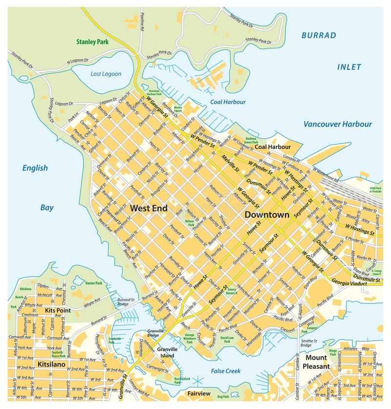 Plan de ville détaillé de Vancouver du centre, la Colombie-Britannique, Canada illustration de vecteur