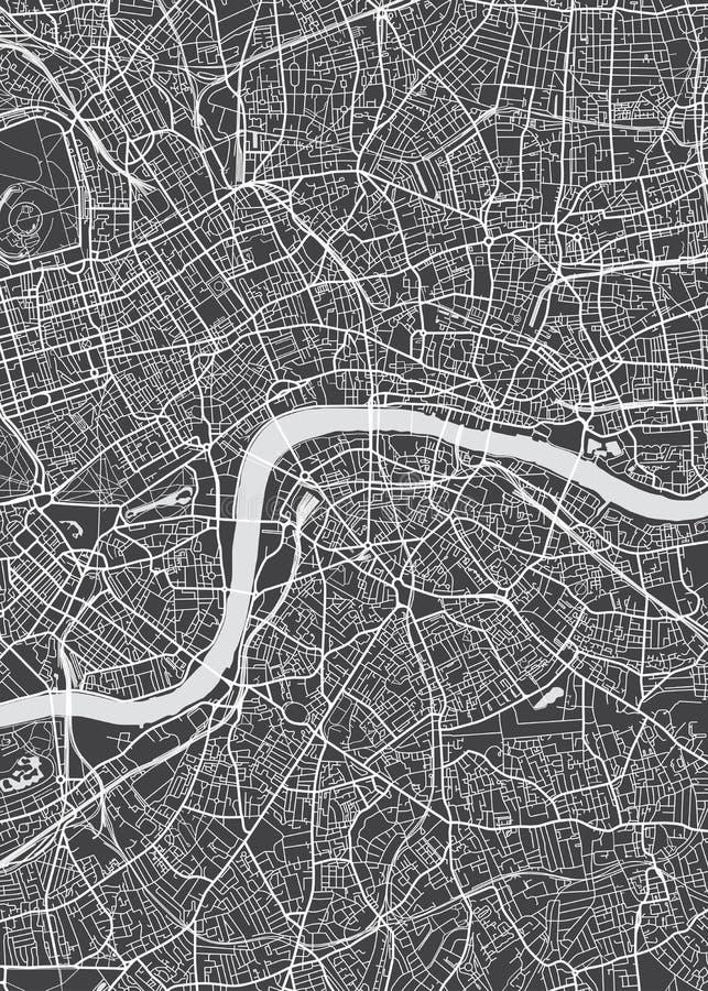 Plan de ville de Londres, carte détaillée de vecteur illustration stock