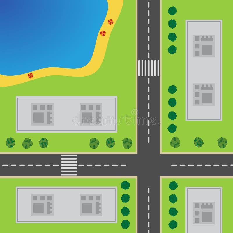Plan de ville Première vue de la ville illustration stock