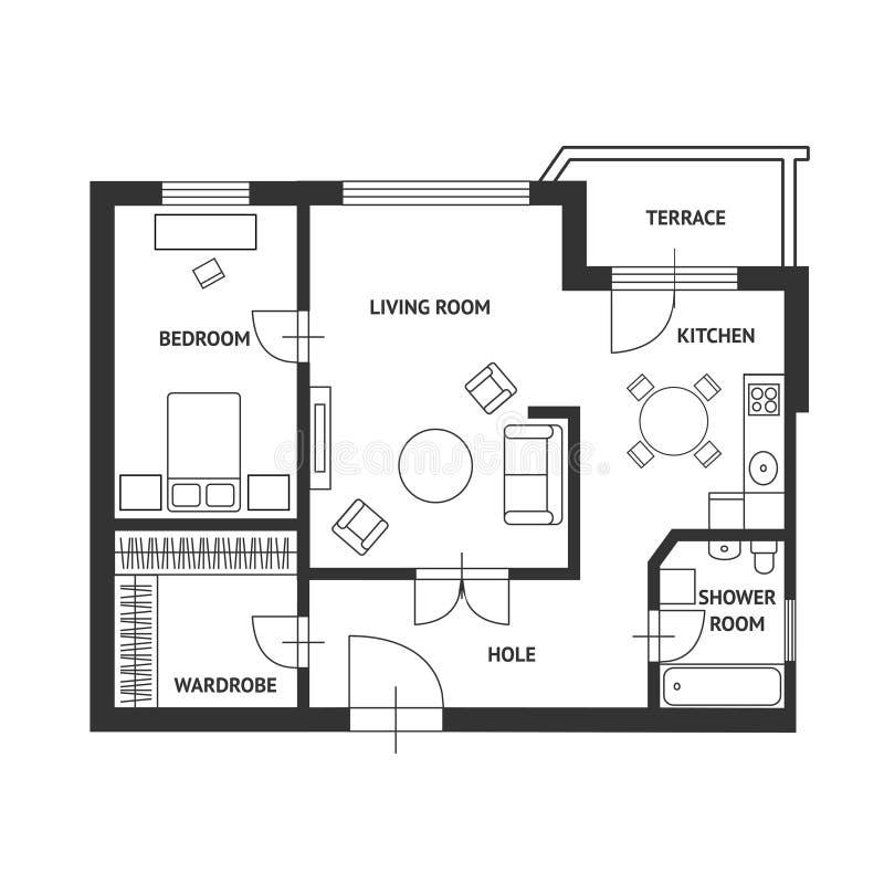 Plan del arquitecto del vector con muebles planos for Dibujos de muebles para planos arquitectonicos