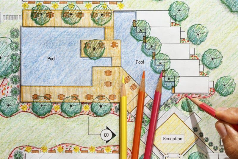 Plan del centro turístico del hotel de Design del arquitecto paisajista foto de archivo
