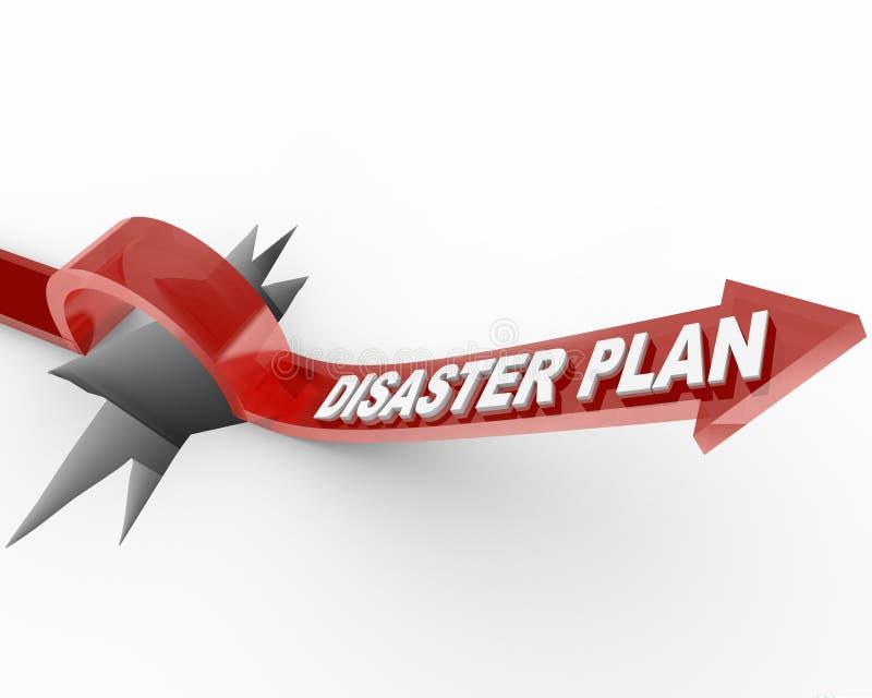 Plan del desastre - flecha que salta sobre el agujero stock de ilustración
